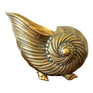 1970s Vintage Brass Nautilus Shell Planter