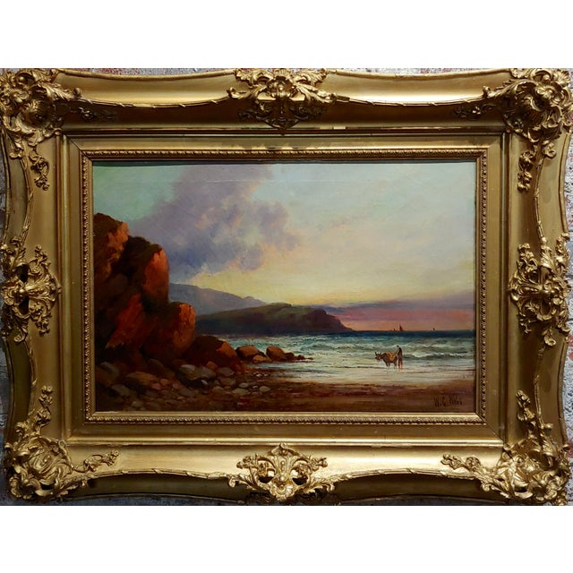 William Edward Webb - 19th century Coastal Beach Scene -Oil painting oil painting on canvas -Signed circa 1880/90s frame...