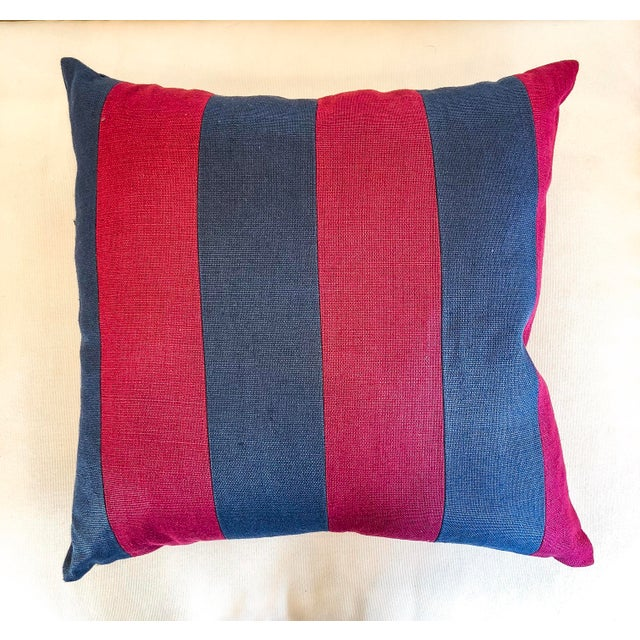 Pink and Blue Striped Linen Pillows - a Pair For Sale - Image 4 of 6