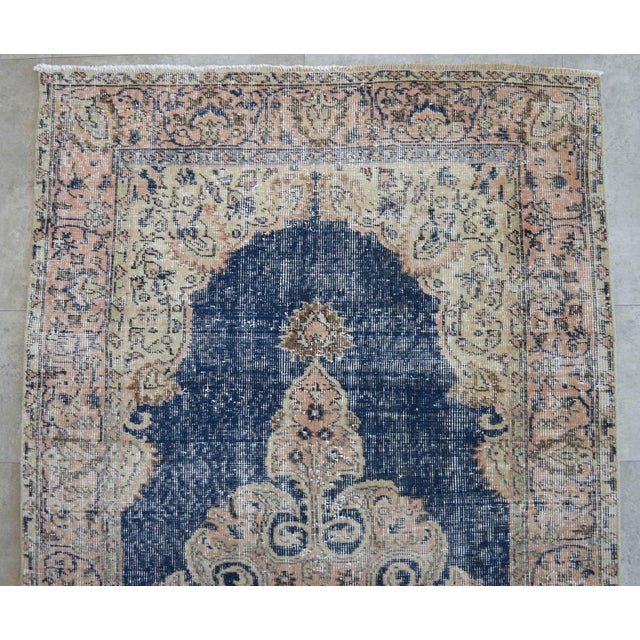 Cotton Turkish Distressed Area Rug Hand Knotted Faded Oushak Rug - 3'7'' X 6'7'' For Sale - Image 7 of 11