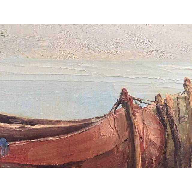 Canvas 1960s Vintage Boats at Sea Amalfi Coast Oil on Canvas Painting For Sale - Image 7 of 11