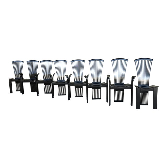 1970s Vintage Pietro Costantini Tall Fan Back Black Lacquered Dining Chairs - Set of 8 For Sale