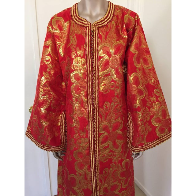Islamic Vintage 1970s Moroccan Kaftan Red and Gold Floral Brocade Caftan Maxi Dress For Sale - Image 3 of 9