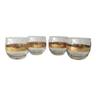 Mid-Century 24k Band Roly Poly Glasses - Set of 4