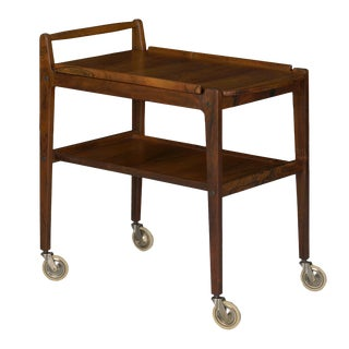 Vintage Swedish Mid-Century Modern Accent Table Serving Bar Cart by Erik Gustafsson For Sale