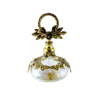 Vintage Italian Filigree Perfume Bottle, Globe Ormolu 24k Gold Plate For Sale