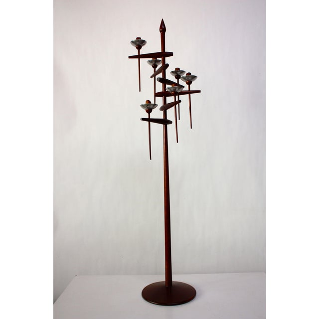 This masterful floor candelabrum is attributed to the New Hope woodworker and sculptor, James Martin, who served as an...
