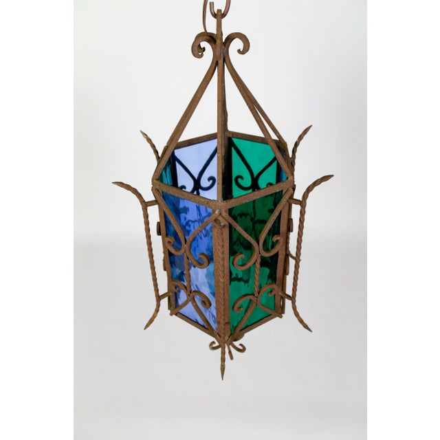 Arts & Crafts 1920s Gothic Revival Lantern With Blue & Green Glass For Sale - Image 3 of 11