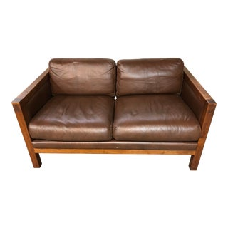 Mid Century Leather and Wood Loveseat For Sale