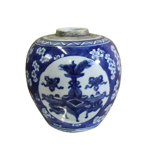 Ceramic Chinese Oriental Handpaint Small Blue White Porcelain Ginger Jar For Sale - Image 7 of 7