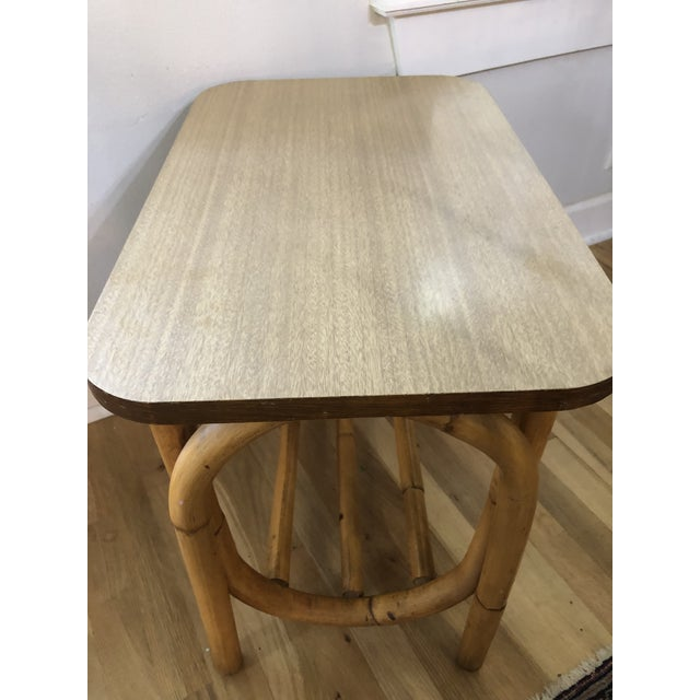 1970s Boho Chic Rattan Side Table With Laminate Top For Sale - Image 4 of 9