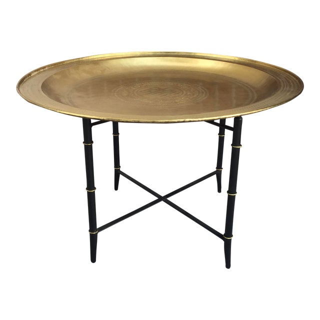 Brass Tray Table With Faux Bamboo Stand For Sale