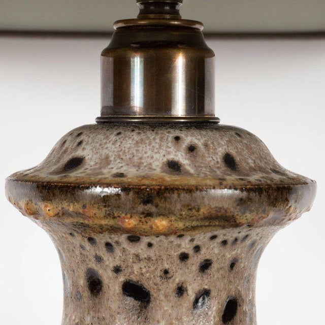 Ceramic Mid-Century Modern Organic Textured Handcrafted and Glazed Ceramic Lamp For Sale - Image 7 of 10