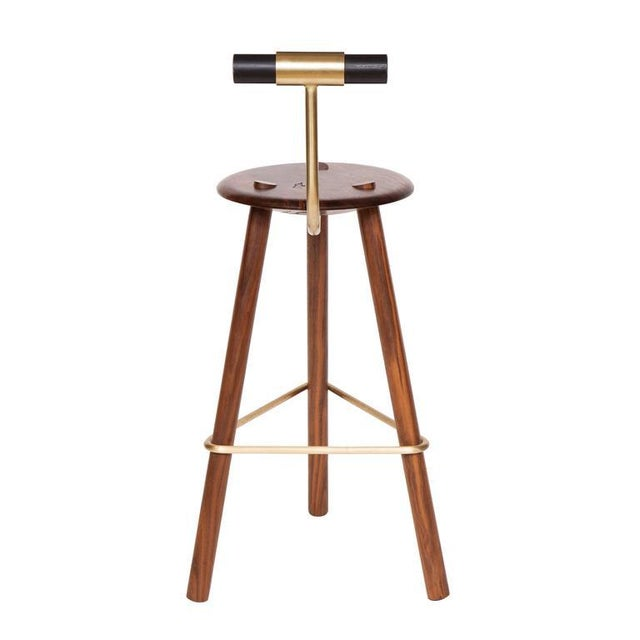 Modern Customizable Erickson Aesthetics Walnut Stool For Sale - Image 3 of 5