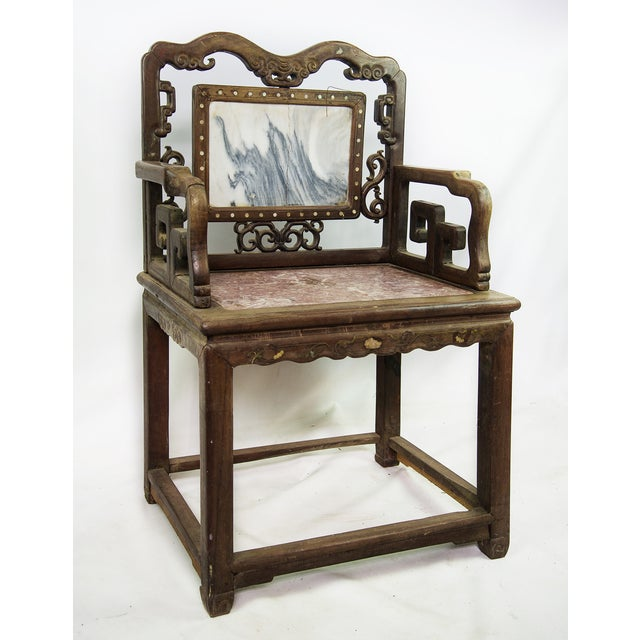 Antique Chinese Marble & Carved Rosewood Chair - Image 2 of 11 - Antique Chinese Marble & Carved Rosewood Chair Chairish