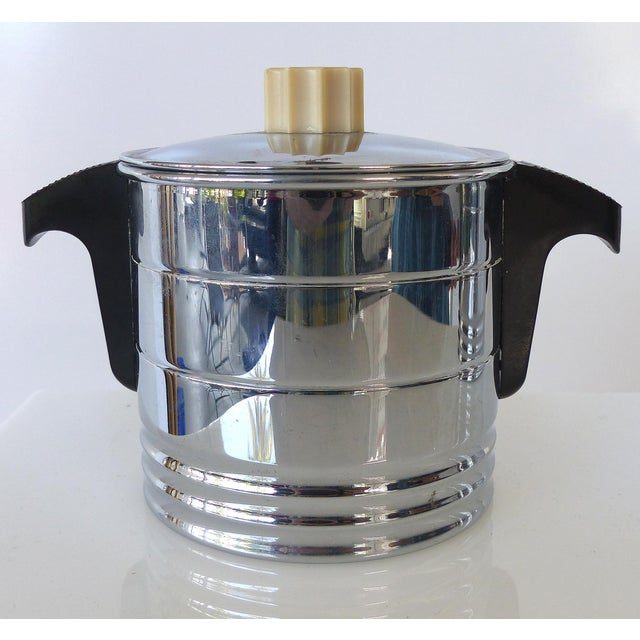 1960s Vintage General Electric Chrome Coffeemaker, Cream & Sugar - Set of 3 For Sale In Miami - Image 6 of 12