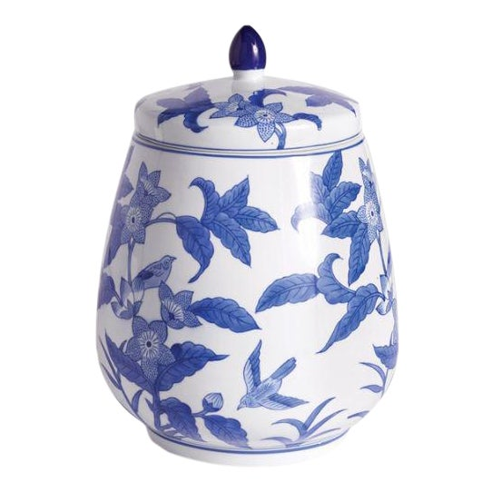 Barclay Butera Blue & White Floral Ginger Jar For Sale
