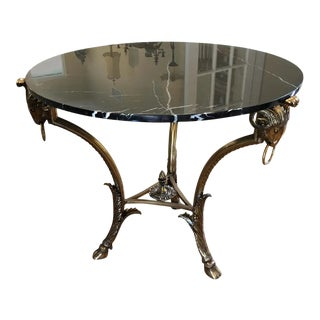 LaBarge Black Marble With Ram's Head Motif Brass Centre Round Table For Sale