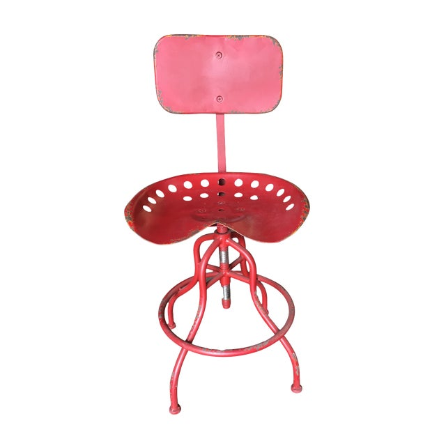 Rustic Industrial Steel and Iron Tractor Work Stool For Sale