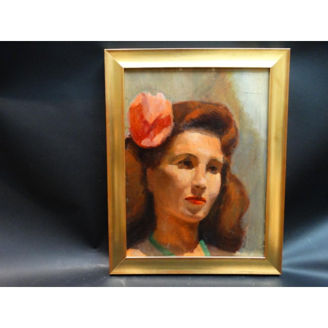 Brown Vintage Mid-Century Albert Londraville Woman With a Flower in Her Hair Painting For Sale - Image 8 of 8