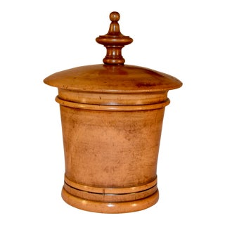 19th C Large Turned Treen String Box For Sale