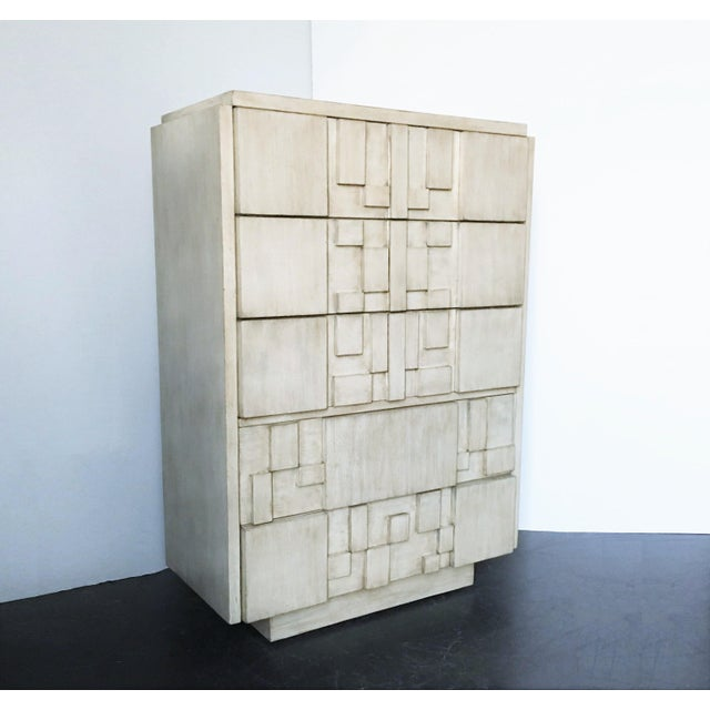 Brutalist Brutalist White Finish Tall Cabinet or Chest by Lane For Sale - Image 3 of 9