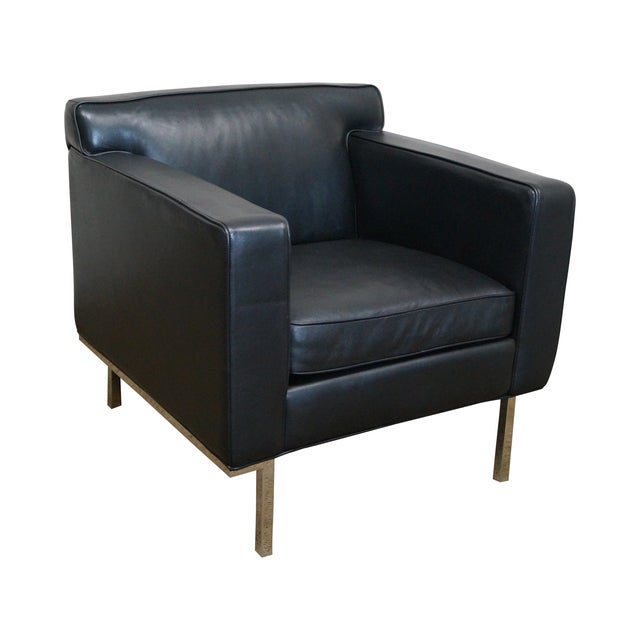Ted Boerner American Leather & Chrome Club Chair - Image 1 of 10