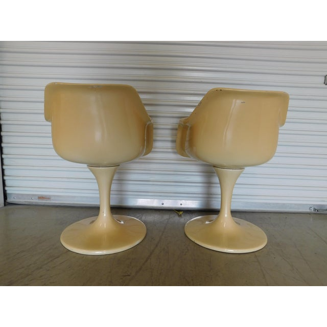 Mid-Century Modern Mid-Century Saarinen Style Fiberglass Swivel Tulip Chairs - A Pair For Sale - Image 3 of 11