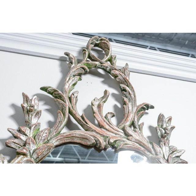 Wonderful Hollywood Regency Italian Florentine Silver Gilt Wood Mirror with Acanthus leaves and scrolled through out....