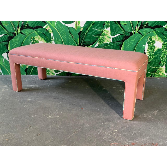 Pink Pink Upholstered Bench Seat Circa 1980s For Sale - Image 8 of 8