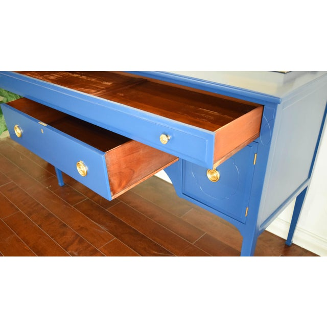 Antique Cherrywood Navy Blue Buffet For Sale - Image 11 of 12