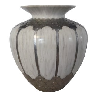 Maitland Smith Art Deco Stone Composition Urn Vase For Sale