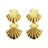 Image of Vintage Gold Tone Sea Shell Clip Earrings - a Pair For Sale