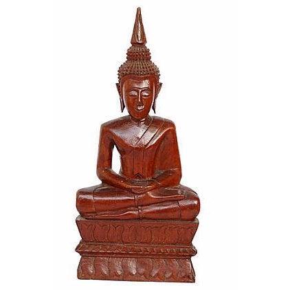 Hand-Carved Wood Buddha - Image 1 of 4