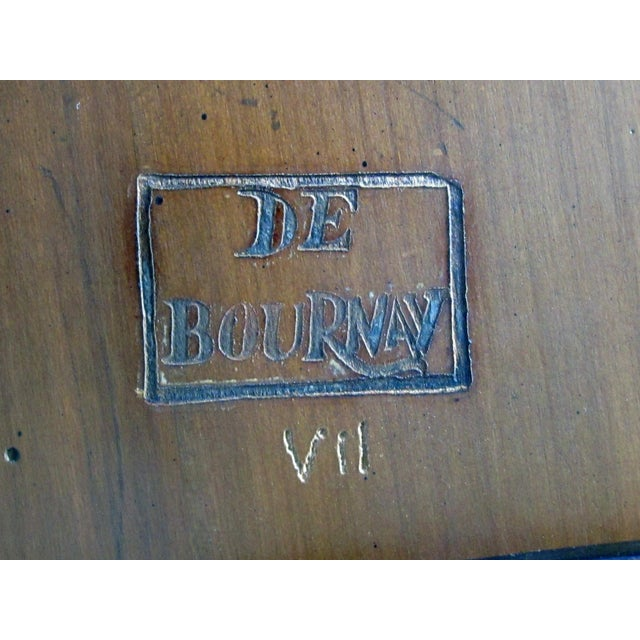 1950s Good Quality French De Bournay Cherry and Walnut Parquetry Game/Side/Center Table With Marble Top For Sale - Image 5 of 7