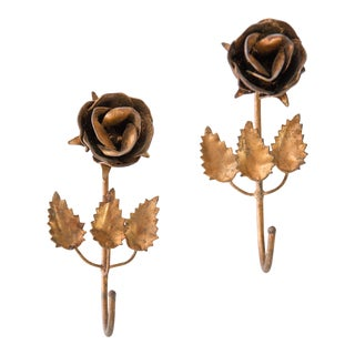 Italian Gilded Tole Roses Wall Hooks - a Pair For Sale