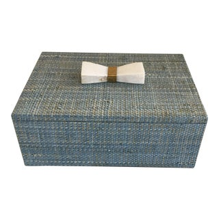 Made Goods Malaret Blue and Gold Raffia Box For Sale