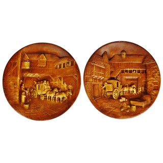 Vintage Equestrian the Coach and Horses Chalkware Wall Plaques - a Pair For Sale