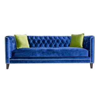Pasargad Victoria Collecion Royal Blue Velvet Sofa For Sale