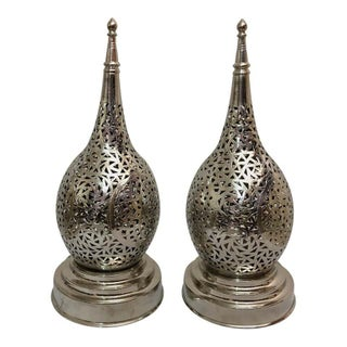 Tear Shaped Silver Toned Handmade Table Lamps - a Pair For Sale