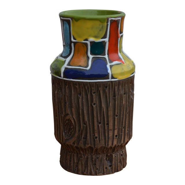 Bitossi for Raymor Mondrian & Wood Themed Vase For Sale