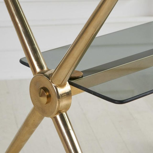 Cesare Lacca French Brass and Smoked Glass Rolling Bar Cart For Sale - Image 4 of 6