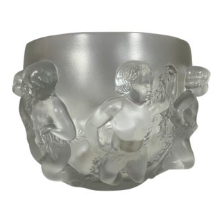 1980s Signed Large Lalique French Luxembourg Cherub Bowl For Sale