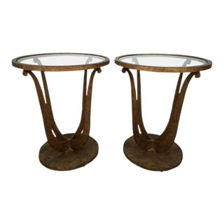 Art Deco Style Lyre Side Tables - a Pair