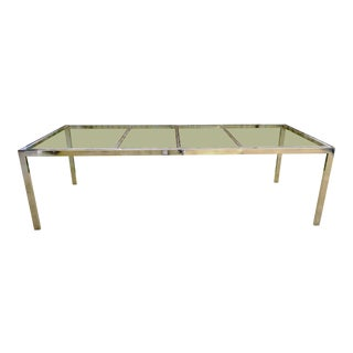 Large Milo Baughman for DIA Chrome Glass Dining Table