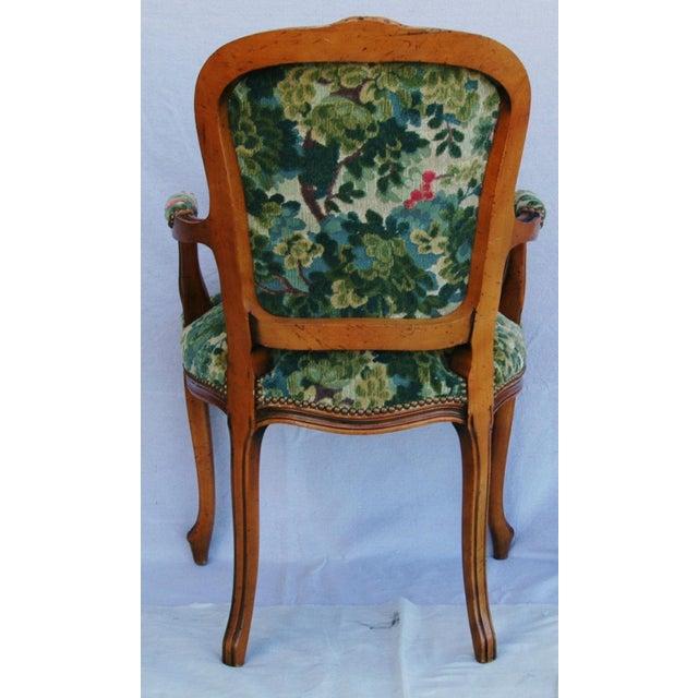Scalamandre Marly Velvet Tapestry Upholstered Walnut Armchair - Image 10 of 10