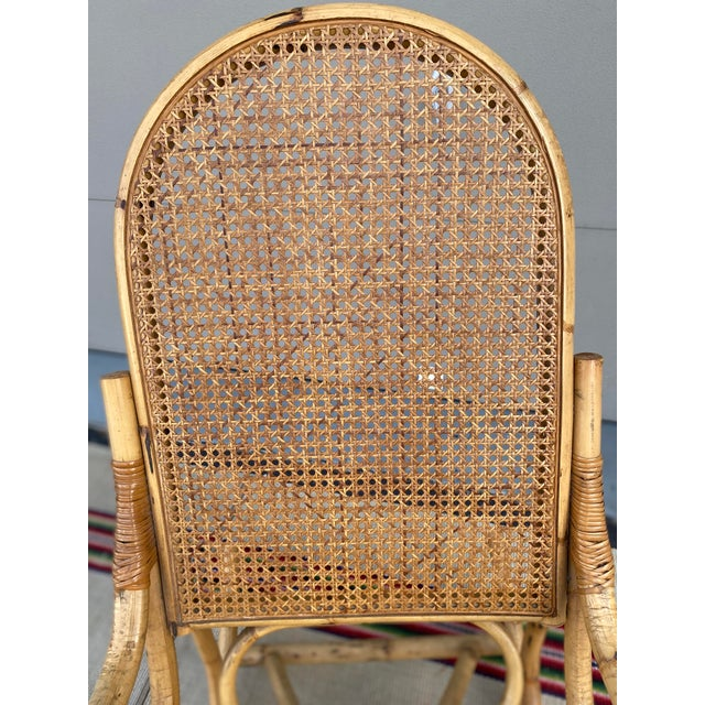 Boho Chic Vintage Mid Century Modern Tiki Bent Bamboo Wood Rocking Chair For Sale - Image 3 of 13