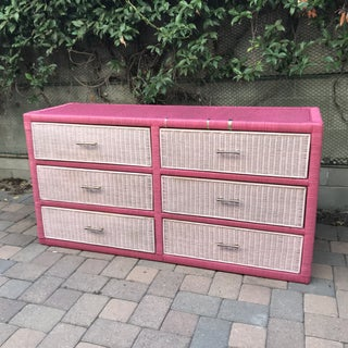 1960's Mid Century Watermelon Rattan Dresser Preview
