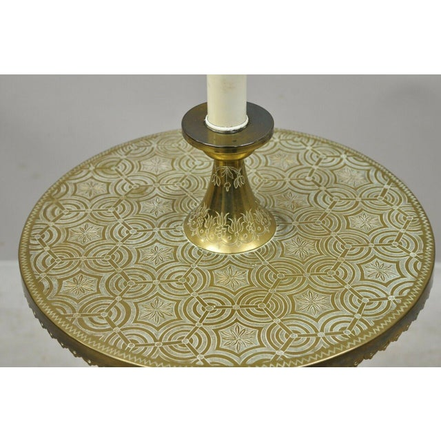 Moroccan Vintage Brass Indian Moroccan Boho Chic Etched Brass Side Table Pole Floor Lamp For Sale - Image 3 of 13
