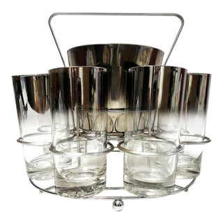Dorothy Thrope Mirrored Glases& Ice Bucket Set W/ Stand - Set for 8 For Sale